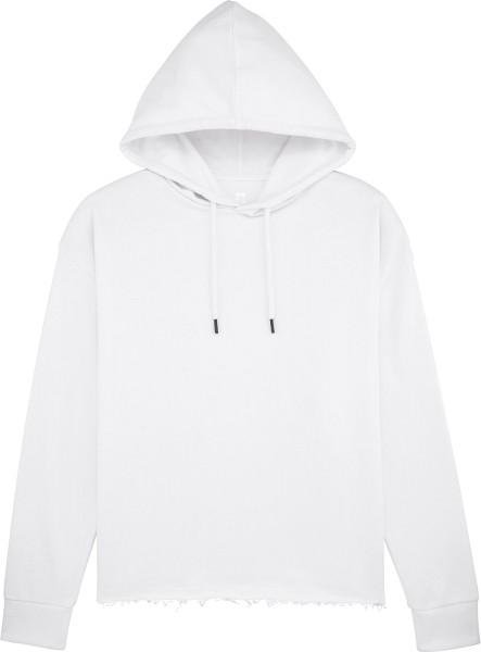 Kurzer Hoodie aus Bio-Baumwolle - white