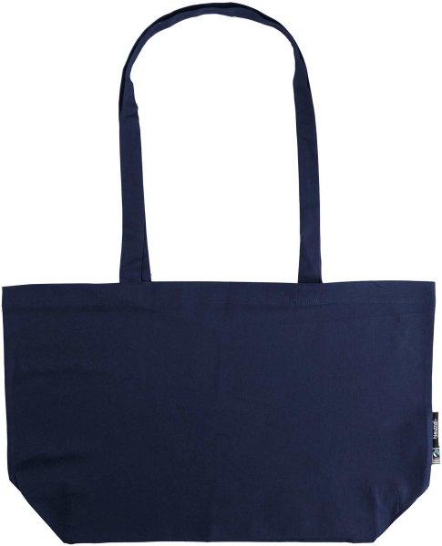 Organic Shopping Bag - breit mit langem Hänkel - Fairtrade navy
