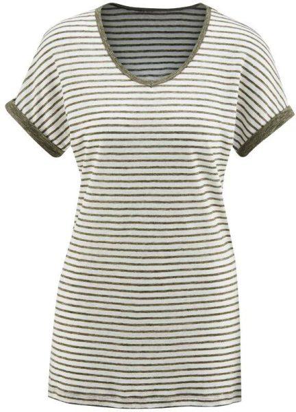 T-Shirt aus Bio-Leinen - offwhite/oregano