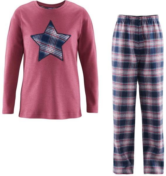 Kinder Schlafanzug aus Bio-Baumwolle - navy/winter rose - Bild 1