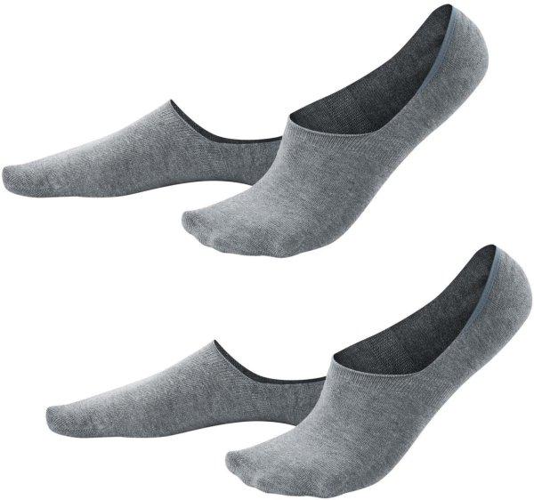 Herren Füßlinge aus Bio-Baumwolle - 2er-Pack - stone grey