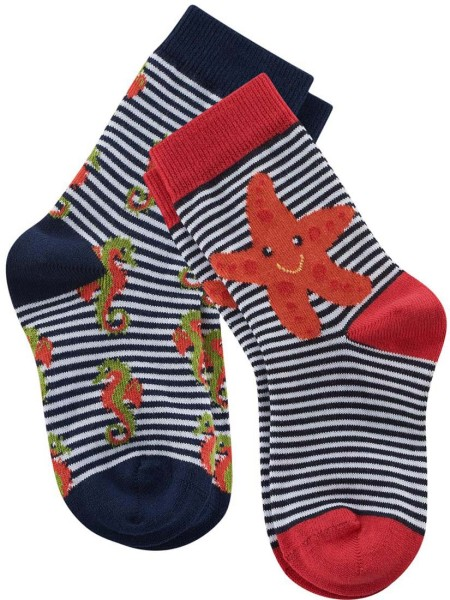 Kinder-Socken Bio-Baumwolle - navy/white