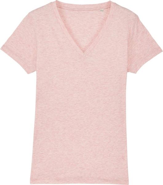 T-Shirt mit V-Ausschnitt aus Bio-Baumwolle - cream heather pink