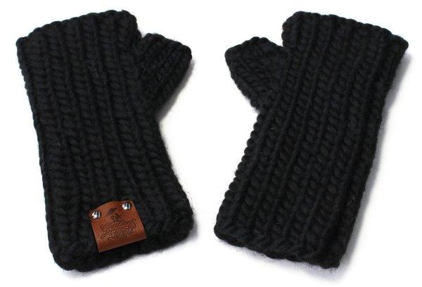 Strick-Handstulpen aus Schurwolle - schwarz