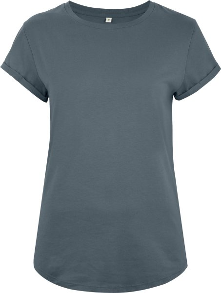 Organic Rolled Sleeve T-Shirt - light charcoal