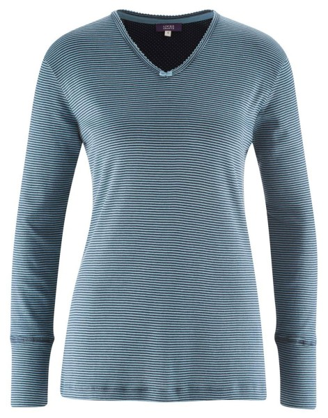 Schlaf-Shirt aus Biobaumwolle - night blue striped