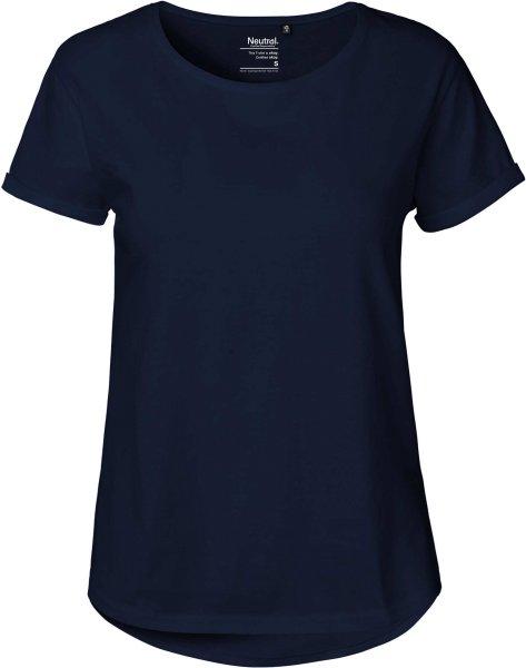 Roll Up Sleeve T-Shirt aus Fairtrade Bio-Baumwolle - navy