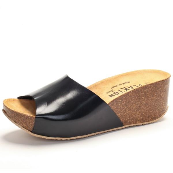 schwarze Sandalette breiter Riemen 273036