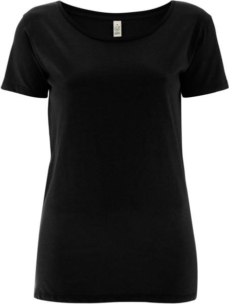 Open Neck T-Shirt aus Biobaumwolle - black