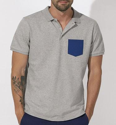 Competes Pocket - Poloshirt Bio-Baumwolle - h. grey/blue - Bild 1
