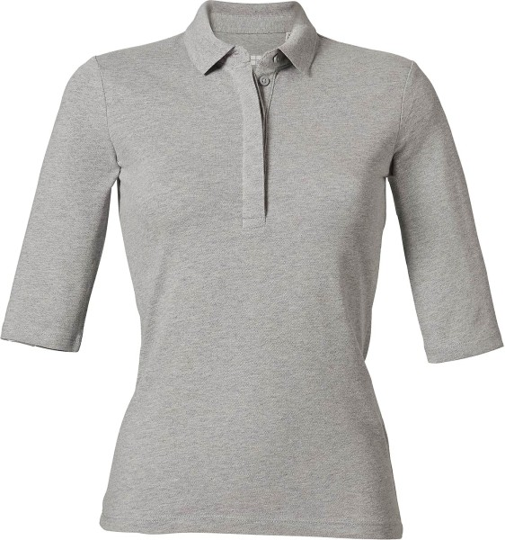 Halbarm-Poloshirt Biobaumwolle - heather grey