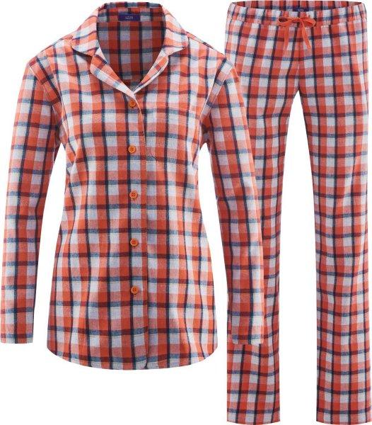 Flanell-Schlafanzug aus Bio-Baumwolle - red clay/navy