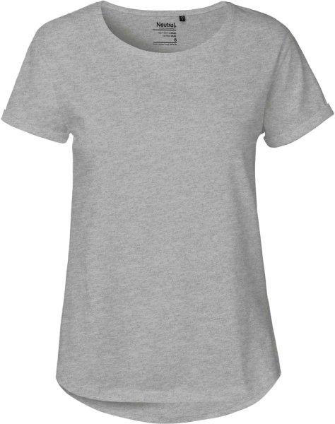 Roll Up Sleeve T-Shirt aus Fairtrade Bio-Baumwolle - grau meliert