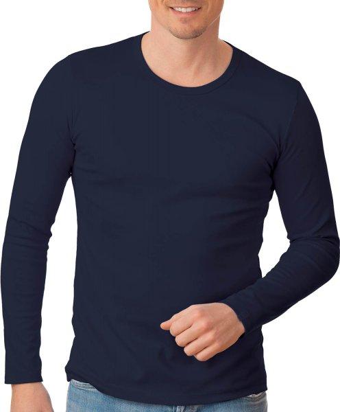 Langarmshirt aus Baumwolle & Elastan - navy - Bild 1