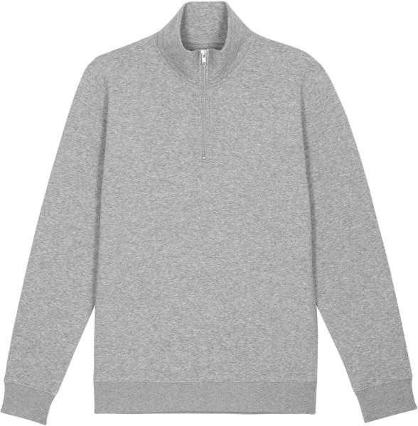 Sweatshirt mit Reissverschluss aus Bio-Baumwolle - heather grey