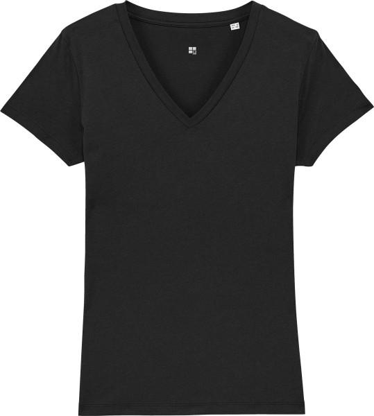 T-Shirt mit V-Ausschnitt aus Bio-Baumwolle - black