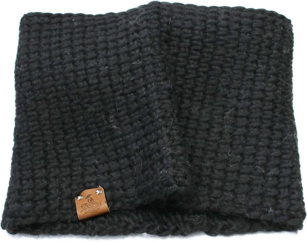 Strick-Schlauchschal aus Schurwolle - schwarz