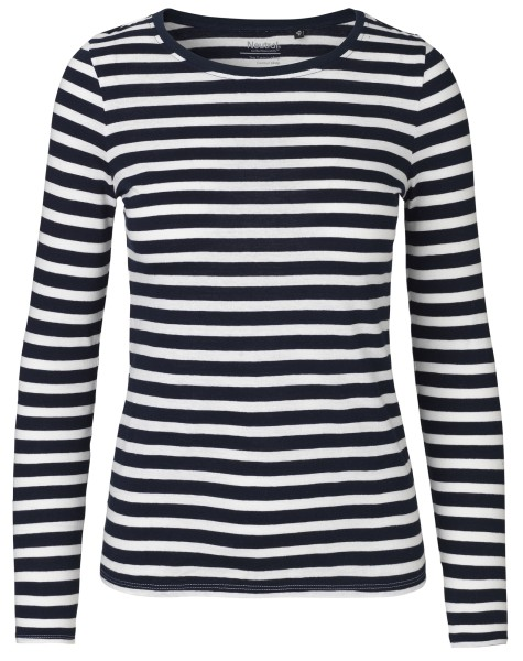 Neutral - Damen Longsleeve - navy/weiß gestreift