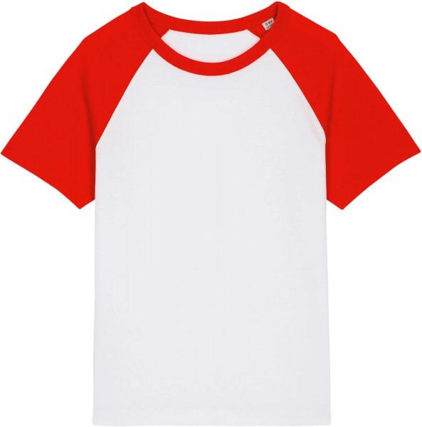 Kinder Baseball-Shirt aus Bio-Baumwolle - white/bright red