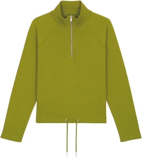 Sweatshirt mit Reissverschluss aus Bio-Baumwolle - moss green