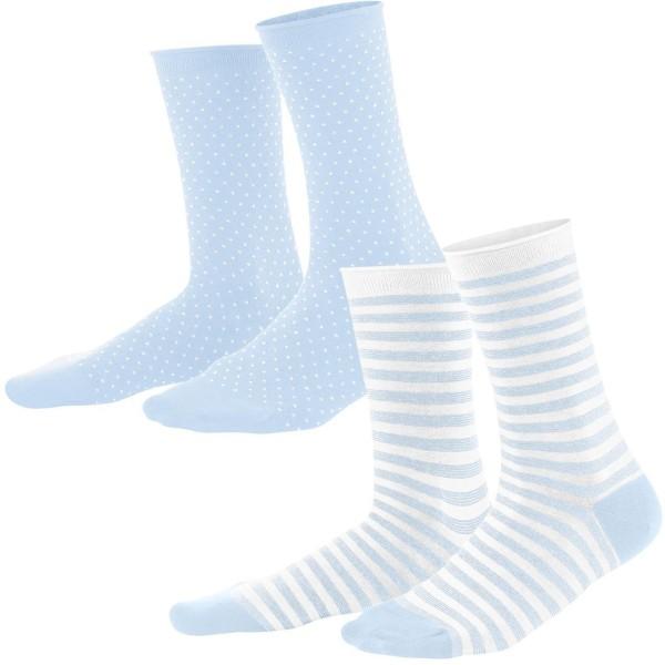 Damen-Strümpfe aus Bio-Baumwolle - 2er-Pack - bleu/white