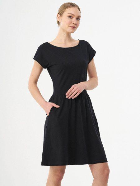 Kurzarm-Kleid aus Bio-Baumwolle - black