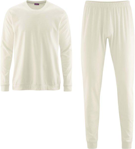 Männer Schlafanzug aus Bio-Baumwolle - natur