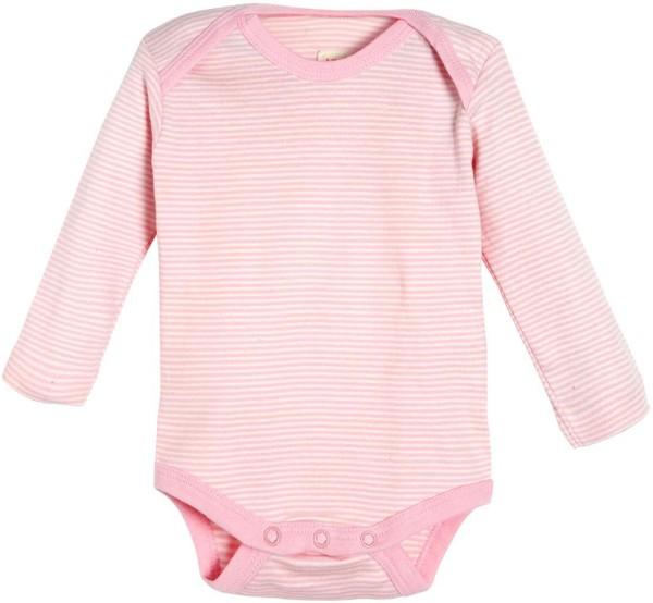 Baby Langarm-Body rosa gestreift Bio-Baumwolle GOTS