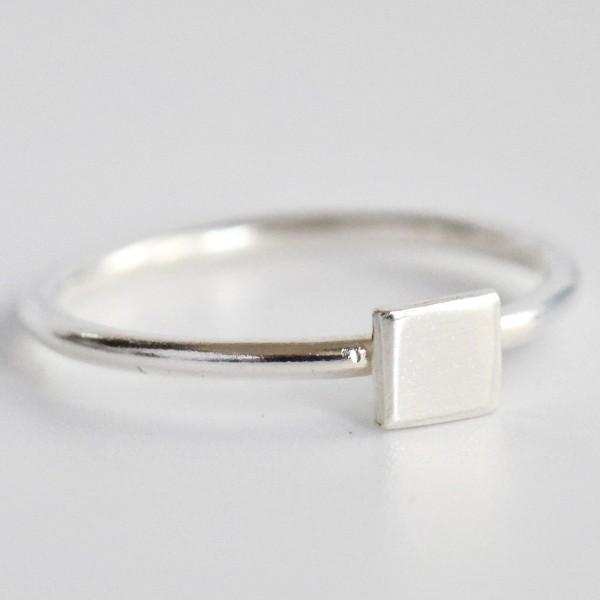 Ring Quadrat recycetes Silber fair Handarbeit