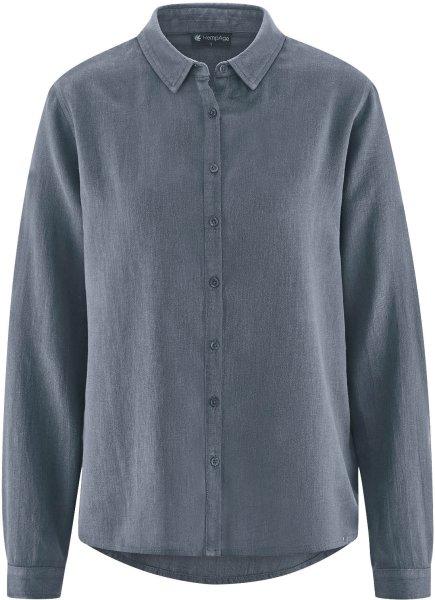 Bluse aus Hanf und Bio-Baumwolle - charcoal