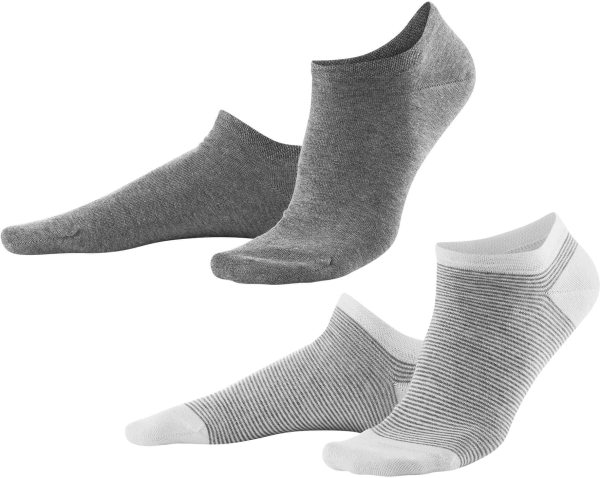 Damen-Sneakersocken Bio - 2er-Pack - grey melange/white