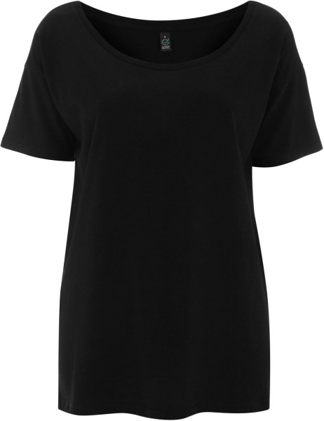 Damen Oversized Tencel T-Shirt schwarz EP46