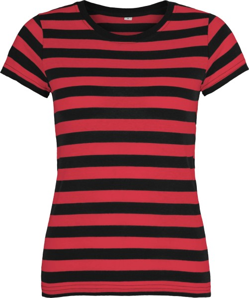 Striped T-Shirt schwarz-rot
