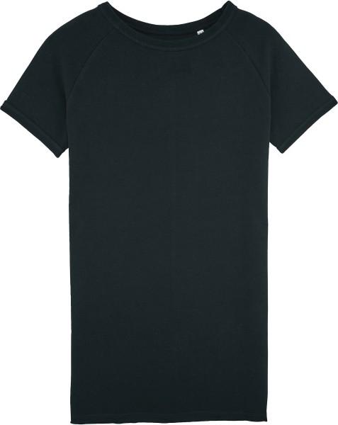 Kurzarm-Sweatshirt-Kleid aus Bio-Baumwolle - black