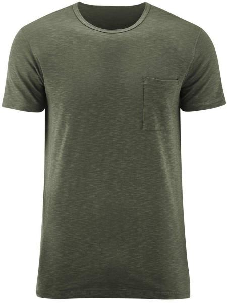 T-Shirt mit Brusttasche aus Biobaumwolle - olive - Bild 1