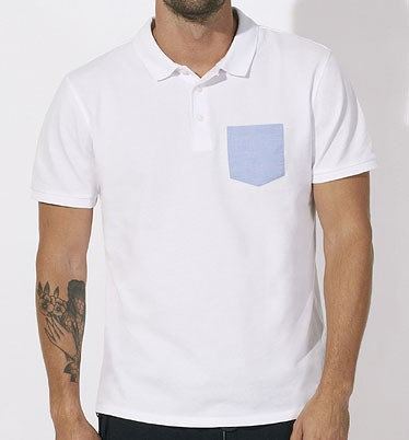 Competes Pocket - Poloshirt Bio-Baumwolle - white/light-blue - Bild 1