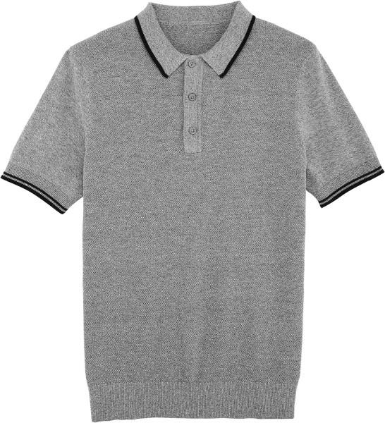 Buzzes - Strick-Poloshirt aus Bio-Baumwolle - heather stone