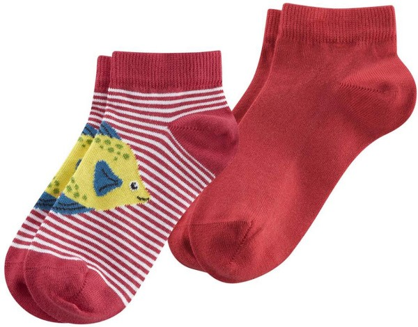 Kinder Sneaker-Socken Bio-Baumwolle - poppy/white