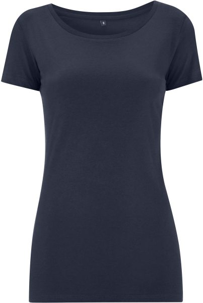 Regular Fit T-Shirt mit weitem Halsausschnitt navy