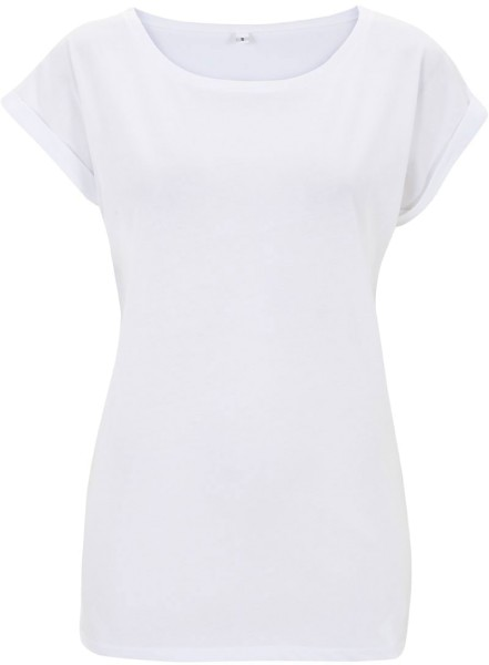 Rolled Sleeve Tunic T-Shirt weiss