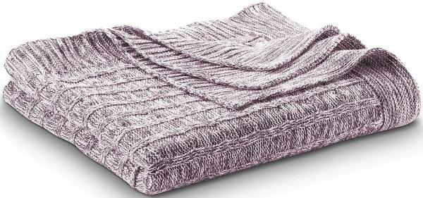 Strick-Decke aus 100% Biobaumwolle -  merlot/natural - Bild 1