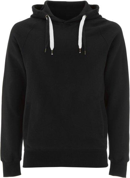 Unisex Biobaumwoll Pullover Hoody mit Seitentaschen - black