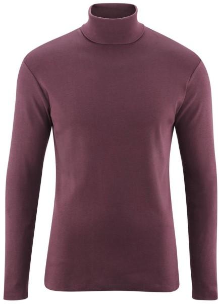 Rollkragen-Langarmshirt aus Bio-Baumwolle - bordeaux