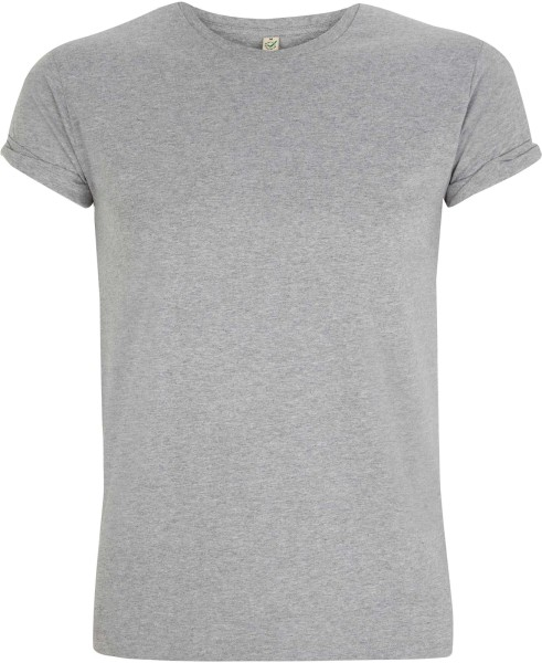Organic Rolled-Up Sleeve T-Shirt grau-meliert