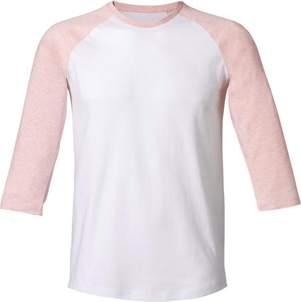 Baseball - Retro-Shirt aus Biobaumwolle - white/cream h. pink