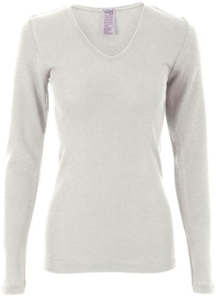 Langarm-Shirt V-Ausschnitt/Spitze - Wolle/Seide natur