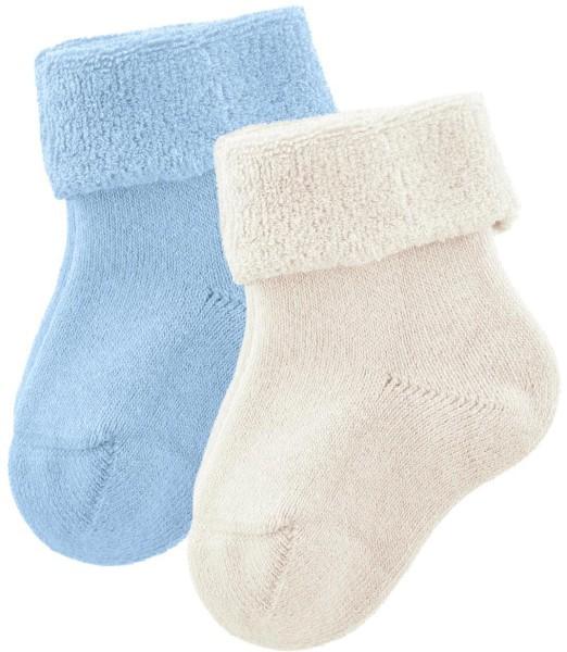 Baby Plüsch-Söckchen - 2er Pack - natural/blue