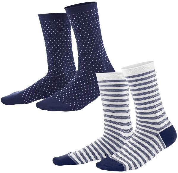 Damen-Strümpfe aus Bio-Baumwolle - 2er-Pack - ink blue/white