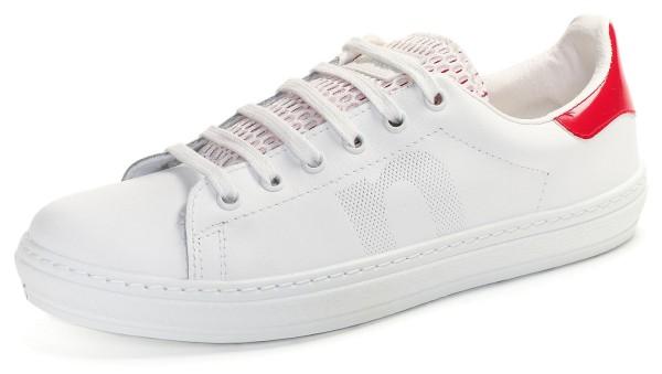 DEPORTIVO PIEL REJILLA - weisse Sneaker mit Mesh-Lasche und roter Ferse