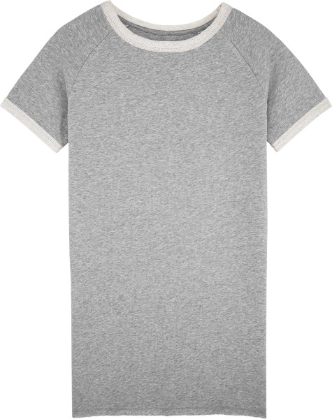 Kurzarm-Sweatshirt-Kleid aus Bio-Baumwolle - heather grey